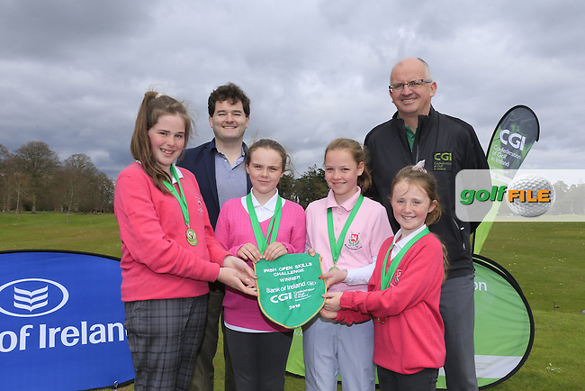 Gavin Kelly Bank Of Ireland and Justin O'Byrne CGI with Ballysisteen Golf Club members Keelin O'Keeffe, Lauren Kelly, Caitlin Shipman and Chloe Ryan national winners of the national finals of the Dubai Duty Free Irish Open Skills Challenge supported by Bank of Ireland in conjunction with CGI at the GUI National Golf Academy, Carton House, Maynooth, Co Kildare. 24/04/2016.<br /> Picture: Golffile   Fran Caffrey<br /> <br /> <br /> All photo usage must carry mandatory copyright credit (&copy; Golffile   Fran Caffrey)