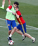 Spain's Alvaro Morata (l) and Asier Illarramendi during training session. March 20,2017.(ALTERPHOTOS/Acero)
