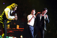MIAMI, FL - AUGUST 3, 2012: Marco Antonio Solis, Marc Anthony and Chayanne during the Gigant3s concert featuring, Marc Anthony, Chayanne and Marco Anotonio Solis at the American Airlines Arena in Miam, Florida. August 3, 2012. © Majo Grossi/MediaPunch Inc. /NortePhoto.com<br />