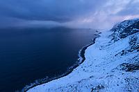 Winter view over wild northern coast of Vestvågøy from Kleivheia to Eggum, Lofoten Islands, Norway