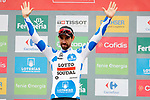 Thomas De Gendt (BEL) Lotto-Soudal retains the mountains Polka Dot Jersey at the end of Stage 20 of the La Vuelta 2018, running 97.3km from Andorra Escaldes-Engordany to Coll de la Gallina, Spain. 15th September 2018.                   <br /> Picture: Unipublic/Photogomezsport | Cyclefile<br /> <br /> <br /> All photos usage must carry mandatory copyright credit (© Cyclefile | Unipublic/Photogomezsport)
