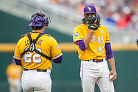 LSU Tigers pitcher Zac Person (49) talks with catcher Kade Scivicque (22) on the mound during Game 10 of the NCAA College World Series against the TCU Horned Frogs on June 18, 2015 at TD Ameritrade Park in Omaha, Nebraska. TCU defeated the Tigers 8-4, eliminating LSU from the tournament. (Andrew Woolley/Four Seam Images)