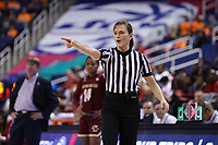 GREENSBORO, NC - MARCH 07: Official Dee Kantner during a game between Boston College and NC State at Greensboro Coliseum on March 07, 2020 in Greensboro, North Carolina.