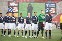 USA team during the national anthem at Pizza Hut Park in Frisco, Texas, Sunday, Feb. 19, 2005.  USA won 4-0.