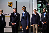 United States President Barack Obama visits a UPS shipping facility in Landover, Maryland and views vehicles from AT&T, PepsiCo, UPS and Verizon's clean fleets, before delivering remarks to the company's employees in Landover, Maryland, USA, on April 01 2011..Credit: Jim LoScalzo / Pool via CNP