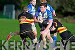 Tralee's TJ O'Sullivan in action against Old Christians at O'Dowd park, Tralee on Saturday.