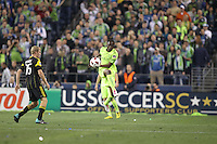Steve Zakuani (11)of the Seattle Sounders FC kicks the ball. The Seattle Sounders FC defeated the Columbus Crew 2-1 during the US Open Cup Final at Qwest Field in Seattle,WA, on October 5, 2010.