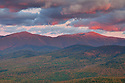 The sky gets hot on a cool autumn evening in this view of the Northern Presidential Range.