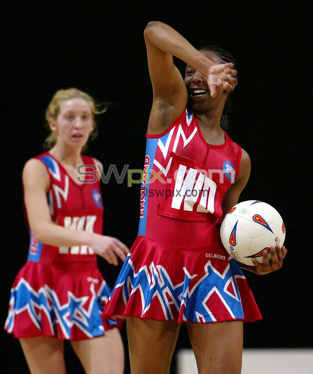 Pix: Simon Wilkinson/SWpix.com. International Netball. England v New Zealand. Test Series 2003. MEN Arena. Manchester. 24/02/03..COPYRIGHT PICTURE>>SIMON WILKINSON>>01943 436649>>..England's Amanda Newton