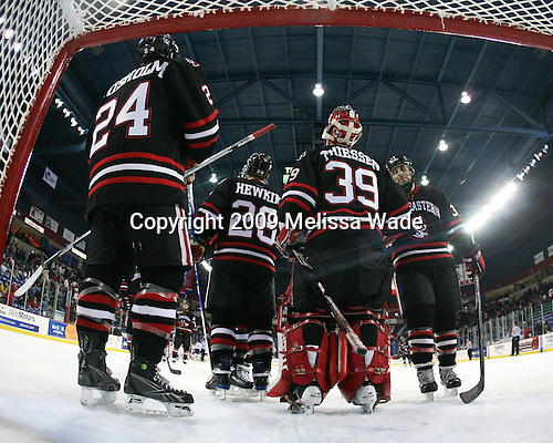 Denis Chisholm (Northeastern - 24), Mike Hewkin (Northeastern - 28), Brad Thiessen (Northeastern - 39), Rob Rassey (Northeastern - 37) - The Northeastern University Huskies defeated the University of Massachusetts-Lowell Riverhawks 3-1 on Saturday, February 28, 2009, at the Paul E. Tsongas Arena in Lowell, Massachusetts.