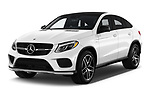 2019 Mercedes Benz GLE Coupe AMG GLE43 5 Door SUV angular front stock photos of front three quarter view