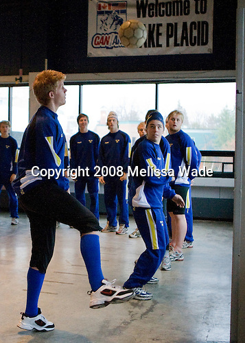 Philip Samuelsson (Sweden - 14), Fredrik Styrman (Sweden - 8), Anton Mylläri (Sweden - 6) - Team Sweden warms up on the concourse of the 1980 Arena prior to their 2008 Four Nations Cup third place game against the Swiss on Sunday, November 8, 2008 in Lake Placid, New York.