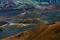 Beautiful multicolored cinder cones in the crater of HALEAKALA NATIONAL PARK seen from the visitor center