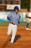 Burlington Royals catcher Chris Hudgins (27) running the bases during a game against the Kingsport Mets at Burlington Athletic Complex on July 28, 2018 in Burlington, North Carolina. Burlington defeated Kingsport 4-3. (Robert Gurganus/Four Seam Images)