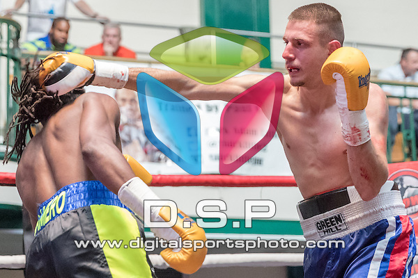 Jumanne Camero VS Teodor Boyadjiev - Welterweight Contest During Goodwin Boxing: Maybe Violent On Saturday 14th May 2016. Photo by: Stephen Smith.<br /> <br /> York Hall, Bethnal Green, London, United Kingdom.