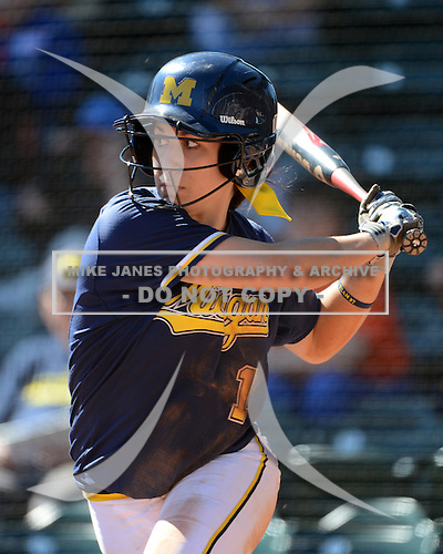 Michigan Wolverines Softball infielder Abby Ramirez (1) at bat during a game against the Bethune-Cookman on February 9, 2014 at the USF Softball Stadium in Tampa, Florida.  Michigan defeated Bethune-Cookman 12-1.  (Copyright Mike Janes Photography)