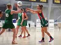 01.10.2015 Tokoroa's Stacy Rata in action during the Manawatu v Tokoroa netball match at the Netball NZ National Champs played at the ASB Sports Centre in Wellington. Mandatory Photo Credit ©Michael Bradley.