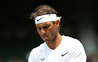 Rafael Nadal (ESP) during his match against Joao Sousa (POR) in their Gentleman's Singles Fourth Round match<br /> <br /> Photographer Rob Newell/CameraSport<br /> <br /> Wimbledon Lawn Tennis Championships - Day 7 - Monday 8th July 2019 -  All England Lawn Tennis and Croquet Club - Wimbledon - London - England<br /> <br /> World Copyright © 2019 CameraSport. All rights reserved. 43 Linden Ave. Countesthorpe. Leicester. England. LE8 5PG - Tel: +44 (0) 116 277 4147 - admin@camerasport.com - www.camerasport.com