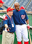 28 September 2010: Washington Nationals' Team Assistant Jon Will (left) chats with utilityman Willie Harris prior to a game against the Philadelphia Phillies at Nationals Park in Washington, DC. The Nationals defeated the Phillies 2-1 on an Adam Dunn walk-off solo homer in the 9th inning to even up their 3-game series one game apiece. Mandatory Credit: Ed Wolfstein Photo