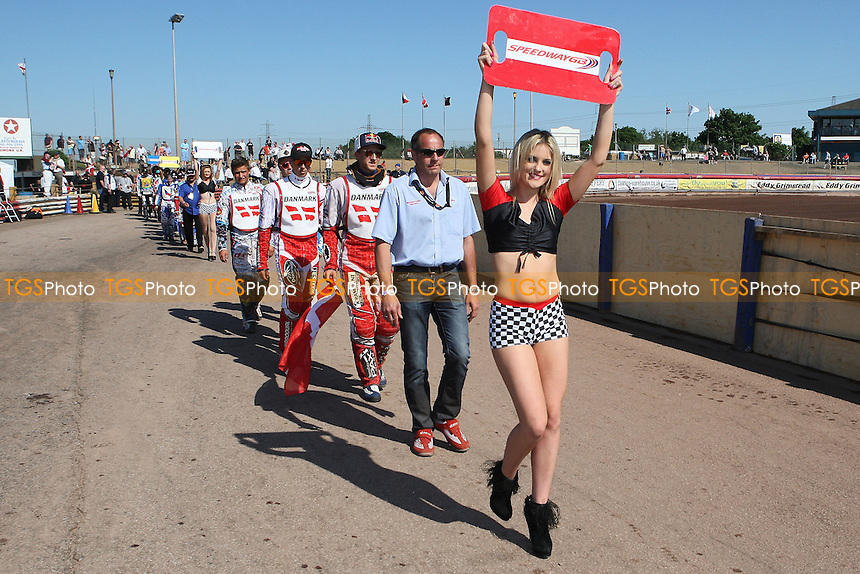 The teams on the parade lap - FIM Speedway World Under-21 Team Cup Semi Final at Arena Essex Raceway, Purfleet - 27/05/12 - MANDATORY CREDIT: Gavin Ellis/TGSPHOTO - Self billing applies where appropriate - 0845 094 6026 - contact@tgsphoto.co.uk - NO UNPAID USE.