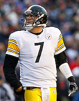 ORCHARD PARK, NY - NOVEMBER 28:  Ben Roethlisberger #7 of the Pittsburgh Steelers looks up at the scoreboard during the game against the Buffalo Bills on November 28, 2010 at Ralph Wilson Stadium in Orchard Park, New York.  (Photo by Jared Wickerham/Getty Images)