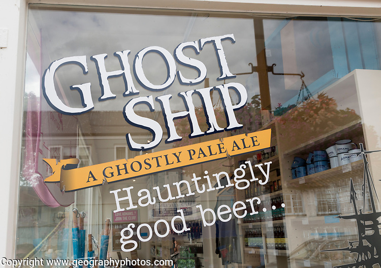 Window advertisement for Ghost Ship pale ale beer from Adnams brewery, Suffolk, England, UK