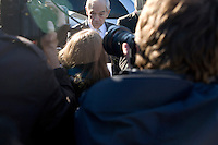 Presidential candidate Ron Paul speaks to members of the media after meeting people at Sandy's Variety store in Manchester, New Hampshire, USA.  Paul is seeking the Republican nomination for president.
