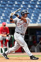 Detroit Tigers second baseman Carlos Guillen #51 fouls off a pitch during an Instructional League game against the Philadelphia Phillies at Bright House Field on October 10, 2011 in Clearwater, Florida.  Guillen is rehabbing in the fall league for a strained right calf finishing 0-3 as designated hitter.  (Mike Janes/Four Seam Images)