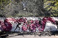 Titolo: Senza Titolo,  Artista Nicola Alessandrini<br /> Title none Artist Nicola Alessandrini<br /> Osservatore famelico dei meccanismi del potere, della paura e del desiderio, dipinge, insieme a Diavu' e Lisa Gelli, un serpentone fucsia, famelico, pronto a divorare la sua preda<br /> Roma 01-02-2015 Street Art a Roma. In vari quartieri di Roma e' fiorita la Street Art, con splendidi murales che hanno lo scopo di raccontare delle storie della citta', di commemorare dei momenti importanti, o semplicemente di interpretarla.<br /> Street Art in Rome. Very important writers  painted Murales in various districts of Rome to tell stories about the city, to commemorate important moments, to embellish the quarter or simply to portray it.  <br /> Photo Samantha Zucchi Insidefoto