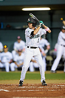 Stetson Hatters left fielder Jacob Koos (1) at bat during a game against the Siena Saints on February 23, 2016 at Melching Field at Conrad Park in DeLand, Florida.  Stetson defeated Siena 5-3.  (Mike Janes/Four Seam Images)