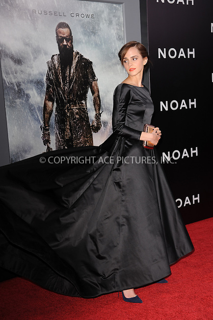 WWW.ACEPIXS.COM<br /> March 26, 2014 New York City<br /> <br /> Actress Emma Watson attends the 'Noah' New York premiere at Ziegfeld Theatre on March 26, 2014 in New York City.<br /> <br /> Please byline: Kristin Callahan<br /> <br /> ACEPIXS.COM<br /> <br /> Tel: (212) 243 8787 or (646) 769 0430<br /> e-mail: info@acepixs.com<br /> web: http://www.acepixs.com