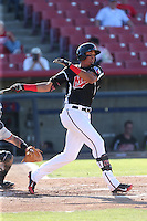 Ronald Guzman (31) of the High Desert Mavericks bats during a game against the San Jose Giants at Mavericks Stadium on June 14, 2015 in Adelanto, California. High Desert defeated San Jose, 7-5. (Larry Goren/Four Seam Images)