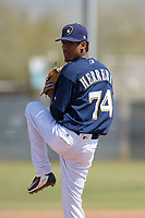 Milwaukee Brewers relief pitcher Carlos Herrera (74) during a Minor League Spring Training game against the Kansas City Royals at Maryvale Baseball Park on March 25, 2018 in Phoenix, Arizona. (Zachary Lucy/Four Seam Images)