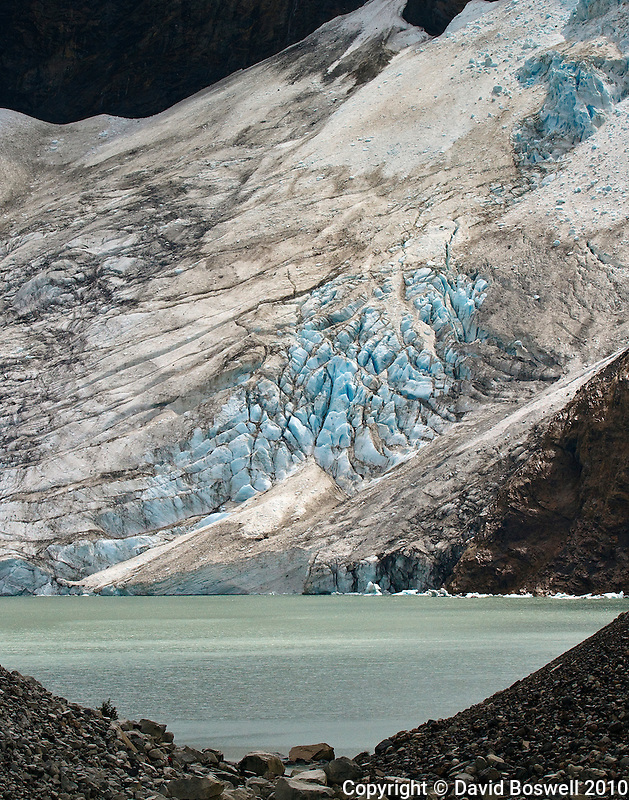 A portion of Glacier Piedras Blancas, a hanging glacier near the town of El Chalten in Parque Nacional los Glaciares (Norte), Argentina.