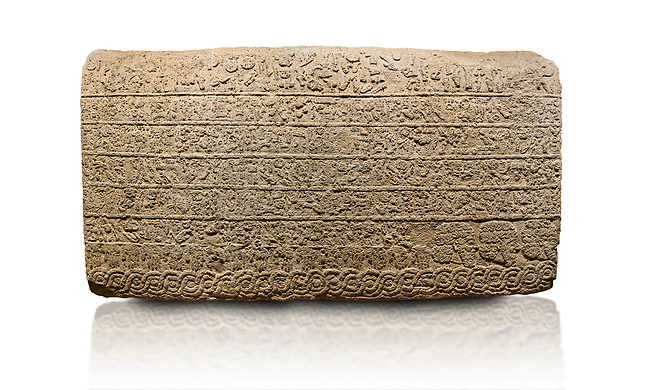 Hittite sculpted Orthostats panel from the  Long Wall.  Limestone, Kargarmis, Gaziantep, 900 - 700 BC,  Hieroglyph. Anatolian Civilisations Museum, Ankara, Turkey.<br /> <br /> In the epigraph with hieroglyph, he narrates that the gods were provoked against him, the account of the cities conquered and the spoils of war; that he allocated a share for the gods, and that he instigated the mighty king Tarhunza and the other gods. In the other lines, he demands that people should present offerings to statues but should evil-intentioned people be among them, such person individuals be punished by the gods. <br /> <br /> On a White Background.