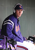 Pitcher David Haselden (29) of the Clemson Tigers prior to a game against the South Carolina Gamecocks on Tuesday, March 8, 2011, at Fluor Field in Greenville, S.C.  Photo by Tom Priddy / Four Seam Images