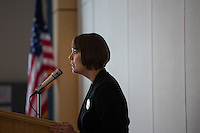 Shenna Bellows, Democratic candidate in Maine for US Senate, speaks to the Falmouth Democratic town caucus in the Falmouth Elementary School cafeteria in Falmouth, Maine, USA, on March 3, 2014. Bellows is trying to unseat incumbent Maine Republican Senator Susan Collins in the 2014 election. The town caucus had speeches from various other local candidates and also served to choose delegates for the 2014 Maine State Democratic Caucus.
