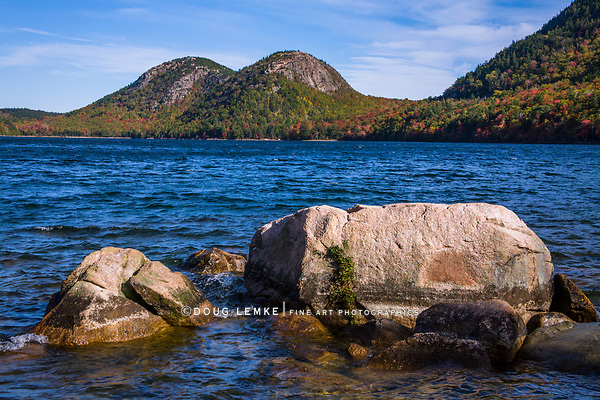 The Bubbles are the two mountain peaks that overlook Jordan Pond, Autumn at Acadia National Park, Maine, USA