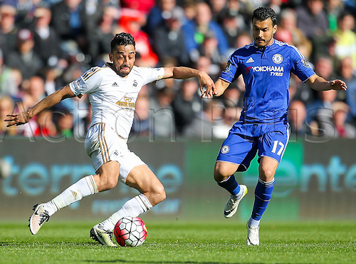 09.04.2016. Liberty Stadium, Swansea, Wales. Barclays Premier League. Swansea versus Chelsea. Swansea City's Neil Taylor competes for the ball during the match with Chelsea's Pedro