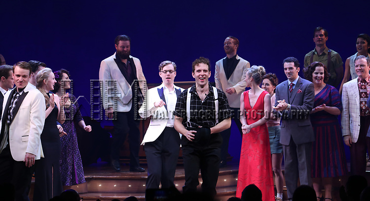 Joe Carroll and cast during the Broadway Opening Night Curtain Call Bows of 'Bandstand' at the Bernard B. Jacobs Theatre on 4/26/2017 in New York City.
