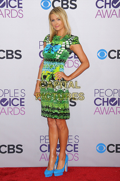 Paris Hilton.People's Choice Awards 2013 - Arrivals held at Nokia Theatre L.A. Live, Los Angeles, California, USA..January 9th, 2013.full length dress hand on hip blue black green yellow turquoise pattern print dress shoes platform bow ribbon.CAP/ADM/BP.©Byron Purvis/AdMedia/Capital Pictures.