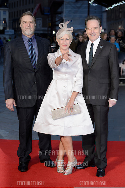 John Goodman &amp; Dame Helen Mirren &amp; Bryan Cranston at the premiere of &quot;Trumbo&quot;, as part of the London Film Festival 2015, at the Odeon Leicester Square, London.<br /> October 8, 2015  London, UK<br /> Picture: Dave Norton / Featureflash