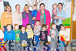 CRECHE: Mary Lou McDonald on her visit to the Rahanane Family ResoursecCentre, on Friday called to the creche in the centre to meet the parents and children. Front l-r: Niall O'Carroll, Thomas O'Mahony, Shane Cullothy, Tyler Leen, Zara Anjam, Jayden Collins and Tori Muntzer. Back l-r: Sliva O'Brien, Sandra Brosnan, Regina O'Connor, Conor Brosnan, Mary Lou McDonnell, Mary Hanifin and Courge Breen.