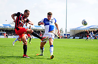 Blackburn Rovers' Elliott Bennett vies for possession with Bristol Rovers' Chris Lines<br /> <br /> Photographer Ashley Crowden/CameraSport<br /> <br /> The EFL Sky Bet League One - Bristol Rovers v Blackburn Rovers - Saturday 14th April 2018 - Memorial Stadium - Bristol<br /> <br /> World Copyright &copy; 2018 CameraSport. All rights reserved. 43 Linden Ave. Countesthorpe. Leicester. England. LE8 5PG - Tel: +44 (0) 116 277 4147 - admin@camerasport.com - www.camerasport.com