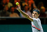 16-02-2018. 16 February 2018, Rotterdam , the Netherlands, ATP 500 Rotterdam Open. Quarter Final. Tennis. Men. Roger Federer- Robin Haasse. 4-6, 6-1, 6-1.<br /> Federer reclaims the Nr 1 Title in the ATP ranking.  As the oldest player ever at 36.