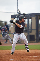 New York Yankees Antonio Cabello (46) during a Minor League Spring Training game against the Atlanta Braves on March 12, 2019 at New York Yankees Minor League Complex in Tampa, Florida.  (Mike Janes/Four Seam Images)