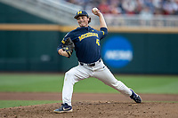 Michigan Wolverines pitcher Tommy Henry (47) delivers a pitch to the plate against the Florida State Seminoles during the NCAA College World Series on June 17, 2019 at TD Ameritrade Park in Omaha, Nebraska. Henry pitched a complete game shutout as Michigan defeated Florida State 2-0. (Andrew Woolley/Four Seam Images)
