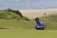 Jon Rahm (ESP) chips from a bunker at the 6th green during Thursday's Round 1 of the Dubai Duty Free Irish Open 2019, held at Lahinch Golf Club, Lahinch, Ireland. 4th July 2019.<br /> Picture: Eoin Clarke | Golffile<br /> <br /> <br /> All photos usage must carry mandatory copyright credit (© Golffile | Eoin Clarke)