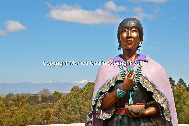 "Sculpture garden at Museum Hill in Santa Fe, New Mexico; sculpture by Estella Lorretto called ""Morning Prayer"""