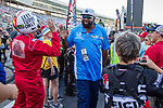 """Former Dallas Cowboy's football star. Ed """"too tall"""" Jones in action before the DXC Technology 600 race at Texas Motor Speedway in Fort Worth,Texas."""